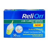 ReliOn 30 Gauge Needle 2-In-1 Lancing Device, 50 Ct