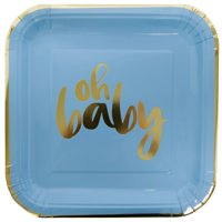 "Square ""Oh Baby"" Shower Paper Plates, 9 in, Blue and Gold, 8ct"