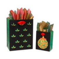 2ct Christmas Contemporary Gift Bag with Tissue Paper - PAPYRUS
