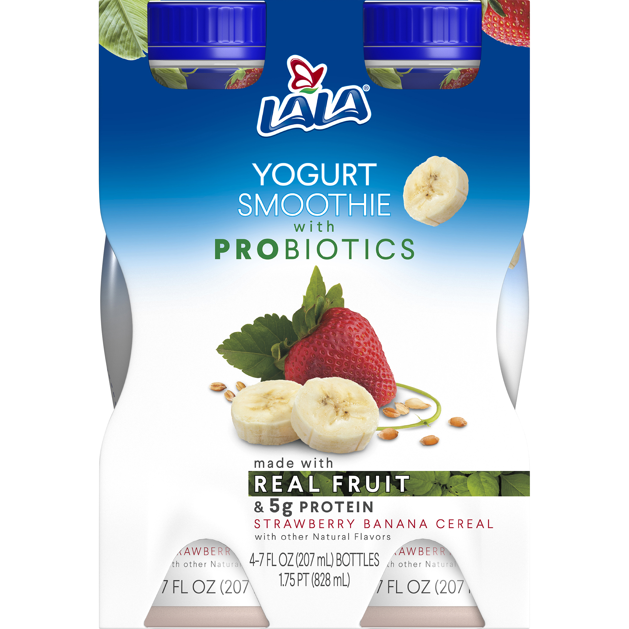 LALA Drinkable Yogurt Smoothie with Probiotics, 5g of Protein, Strawberry Banana Cereal, 7-Ounce Bottles (Pack of 4)
