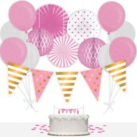 Way to Celebrate Baby Girl 36-Piece Decorations Kit, Pink & Gold