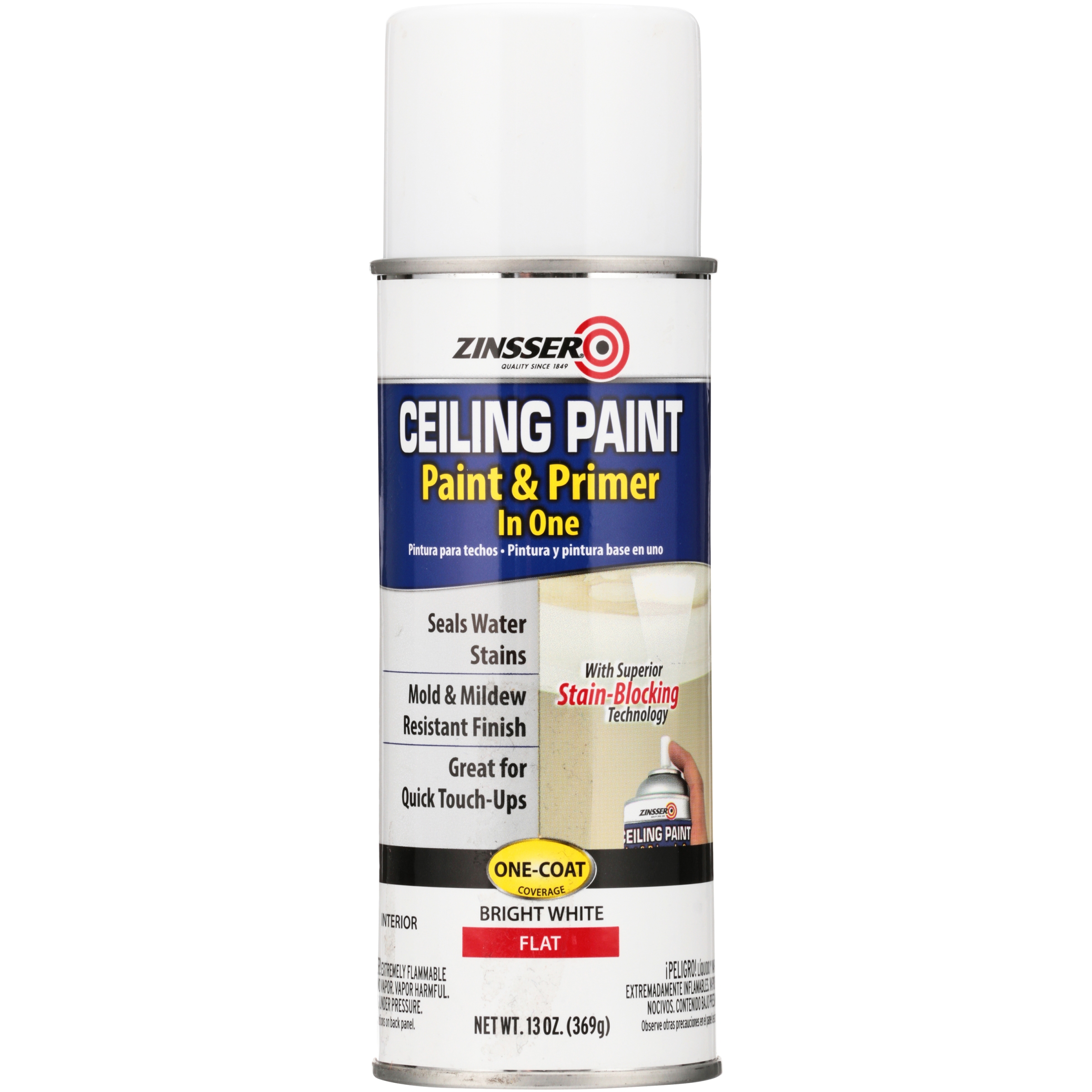 (3 Pack) Zinsser® Bright White Flat Interior Paint & Primer in One Ceiling Spray Paint 13 oz. Aerosol Can