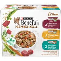 (6 Pack) Purina Beneful Gravy Wet Dog Food Variety Pack, Prepared Meals Stew, 10 oz. Tubs