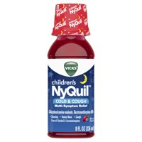 Vicks Children's NyQuil, Nighttime Cold & Cough Multi-Symptom Relief, Relieves Sneezing, Runny Nose, Cough, 8 Fl Oz, Berry Flavor