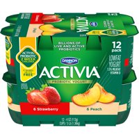 Activia Strawberry/Peach Yogurt, 4 oz/12 ct