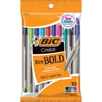 BIC Cristal Xtra Bold Fashion Ball Pen, Bold Point (1.6mm), Assorted Colors, 10 Count