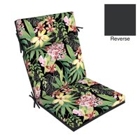 Better Homes & Gardens Black Painterly Tropical 44 x 21 in. Outdoor Dining Chair Cushion with EnviroGuard