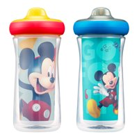 Disney Mickey Mouse Insulated Hard Spout Sippy Cups With One Piece Lid, 9 Oz, 2 Pack