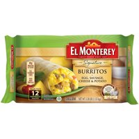 El Monterey Signature Egg, Sausage, Cheese, and Potato Breakfast Burrito, 12 Count Bag