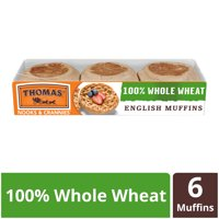 Thomas' 100% Whole Wheat English Muffin, Made with Whole Grains, 6 count, 12 oz