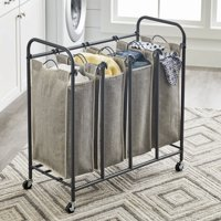 Better Homes & Gardens Gunmetal Grey Rolling 4 Bag Laundry Sorter