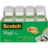 Scotch Magic Tape 4 Pack, 3/4 in. x 500 in. per Roll