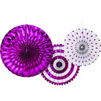 Metallic Pink Paper Fan Set, 3ct