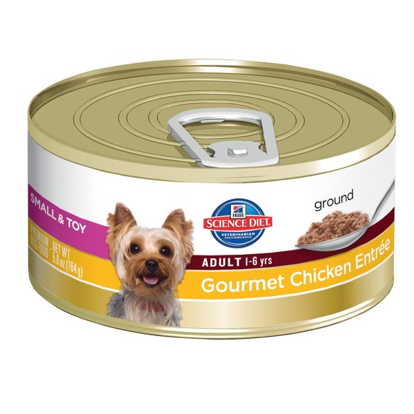Hill's Science Diet Dog Food, Premium, Chicken & Barley Entree, Ground, Adult (1-6), Small & Toy Breed
