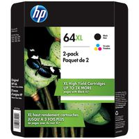 HP 64XL High Yield Black/Tri-color Ink Cartridges, 2 ct