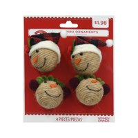 Holiday Time Mini Ornaments, Snowman Heads, 4 Count