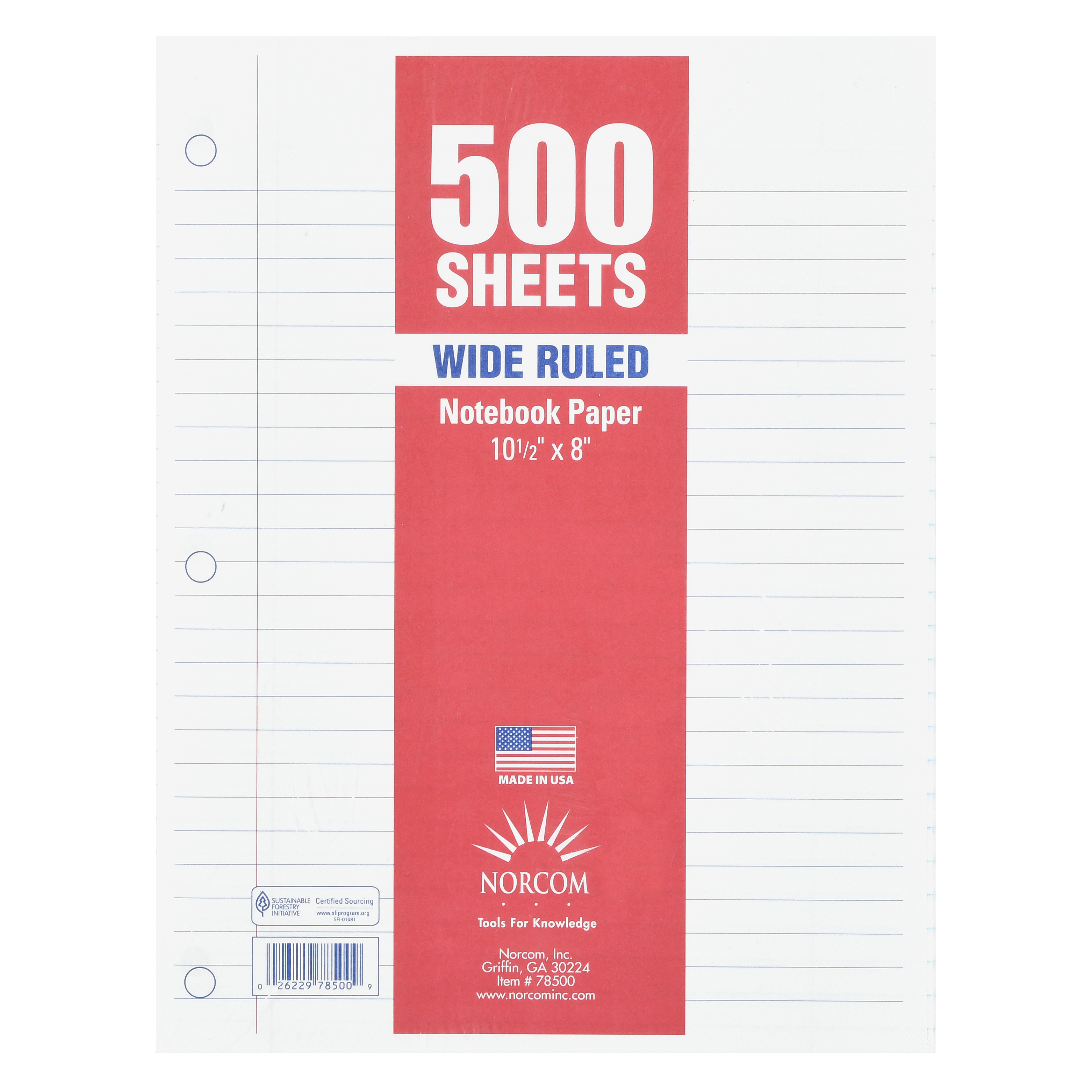 "Norcom 500 Sheets Wide Ruled Filler Paper, 10.5"" x 8"""