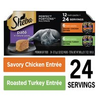 (12 Pack - 24 Servings) SHEBA PERFECT PORTIONS Wet Cat Food Pate Savory Chicken Entree and Roasted Turkey Entree Multipack, 2.6 oz. Easy Peel Twin-Pack Trays