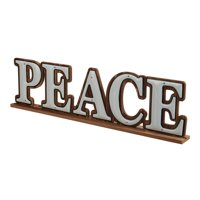 Holiday Time Peace Sign Table-Top Christmas Decoration, 24