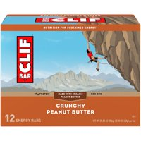 CLIF Bar Energy Bars, Crunchy Peanut Butter, 11g Protein Bar, 12 Ct, 2.4 oz (Packaging May Vary)