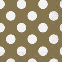 Polka Dot Paper Luncheon Napkins, 6.5 in, Gold, 45ct
