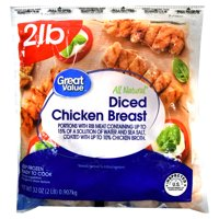 Great Value All Natural Diced Chicken Breast, 32 oz