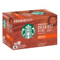 Starbucks Medium Roast K-Cup Coffee Pods — Breakfast Blend for Keurig Brewers
