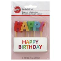 Wilton Candle Pick Set, Happy Birthday, 3 Inch High
