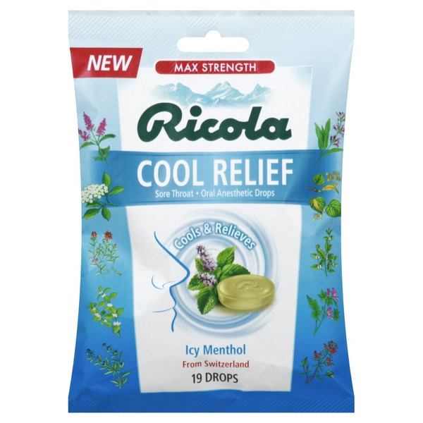 Ricola Cool Relief Icy Menthol Sore Throat Anesthetic Drops Cool Relief Icy Menthol Sore Throat Anesthetic Drops