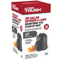 Hyper Tough 33-39 Gallon Outdoor & Lawn Drawstring Flex Cleanup Bags, 30 Count