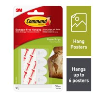 Command Poster Removable Strips, 12 Strips/Pack