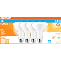 SYLVANIA LED BR30 Light Bulb, 60 Watt, Dimmable, Soft White, 4 Pack