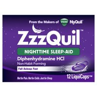 Vicks ZzzQuil Nighttime Sleep Aid LiquiCaps, 12 Count