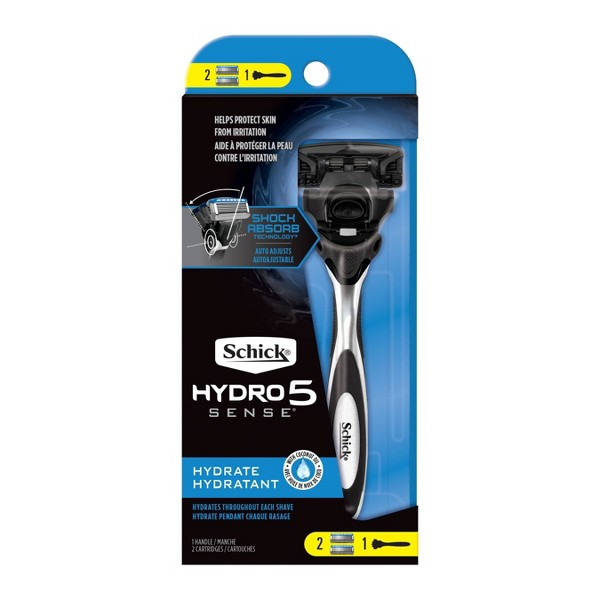 Schick Hydro Sense Hydrate Men's Razor - 1 Razor Handle and 2 Refills