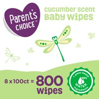 Parent's Choice Cucumber Scent Baby Wipes, 8 packs of 100 (800 count)