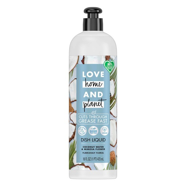 Love Home & Planet Dish Liquid - Coconut Water & Mimosa Flower - 16 fl oz
