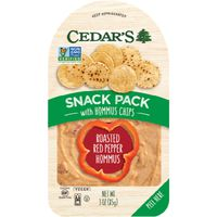 Cedar's. Hommus, Roasted Red Pepper, with Hommus Chips, Snack Pack