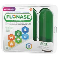 Flonase Allergy Relief, Non-Drowsy, Full Prescription Strength, 50 mcg, Metered Sprays, Twin Pack