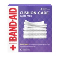 Band-Aid Brand Cushion Care Gauze Pads, Large, 4 in x 4 in - 10 ct