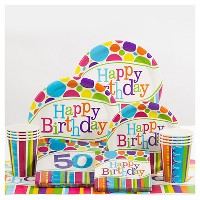 50th Birthday Bright And Bold Party Supplies Collection