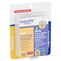 Equate Maximum Strength Daytime and Nighttime Mucus Relief Caplets, 30 count