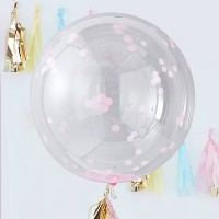 Ginger Ray Balloon Large Confetti Pink