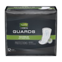 Depend Incontinence Guards for Men, Maximum Absorbency, 52 Count -2 Pack