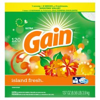 Gain Powder Laundry Detergent for Regular and HE Washers, Island Fresh Scent, 137 ounces 120 loads