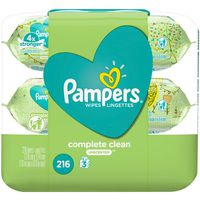 Pampers Baby Wipes Complete Clean Unscented 3X Pop-Top Packs 216 Count