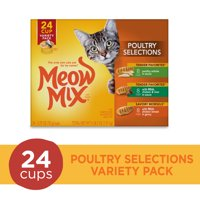 Meow Mix Poultry Selections Variety Pack Wet Cat Food, 24 Cups