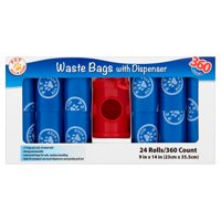 Pet All Star Waste Bags with Dispenser, 24 pack, 360 count