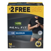 Depend Real Fit Incontinence Underwear for Men, Maximum Absorbency, S/M, Black/Grey, 14 ct