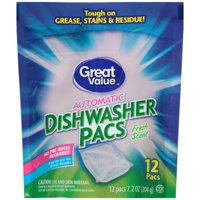 Great Value Fresh Scent Automatic Dishwasher Pacs, 12 count