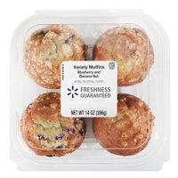 Freshness Guaranteed Blueberry & Banana Nut Muffin Variety Pack, 14 oz, 4 Count